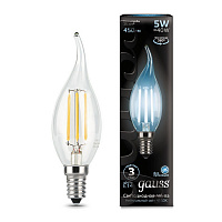104801205 Лампа Gauss LED Filament Candle tailed E14 5W 4100K 1/10/50