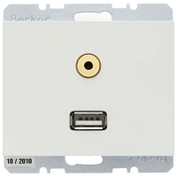 3315397009 Розетка USB+mini-jack Berker, белый, 3315397009